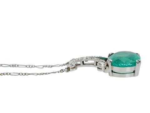 Antique Emerald Diamond Necklace