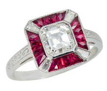 Impeccable Asscher Cut Diamond Ruby Ring