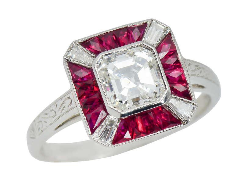 Impeccable Asscher Cut Diamond Ruby Ring