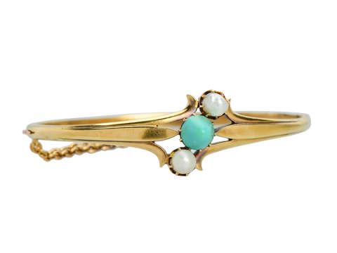 Edwardian Antique Turquoise Natural Pearl Bangle