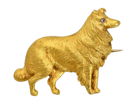 My Best Friend - Antique Gold Dog Brooch