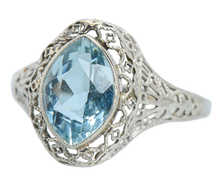 Marquise Art Deco Aquamarine Filigree Ring