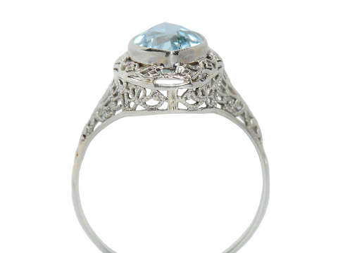 Marquise Art Deco Aquamarine Filigree Ring