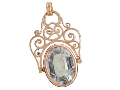 Antique Rock Crystal Spinner Fob Pendant