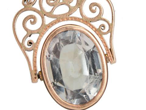 Antique Rock Crystal Spinner Fob Pendant