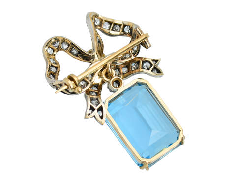 Edwardian Aquamarine & Diamond Bow Brooch Pendant