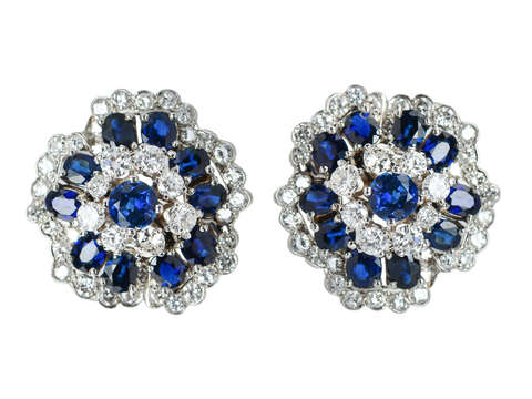 Resplendent Diamond Sapphire Earrings
