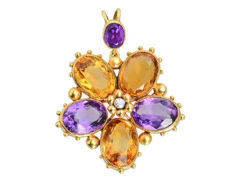 Georgian Pansy Flower Pendant
