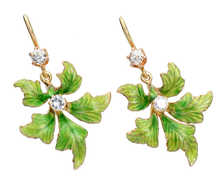 Antique Enamel Diamond Green Leaf Earrings