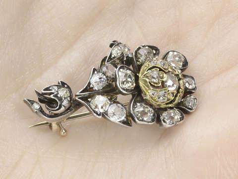 Georgian Halley's Comet Flower Diamond Brooch