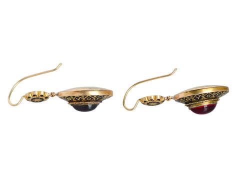 In Tribute - Victorian Garnet In Memory Earrings
