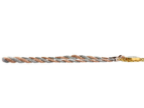 Antique Woven Three Color Gold Padlock Bracelet