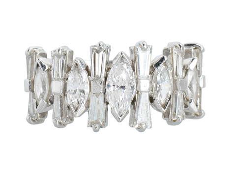 Modernist Marquise Diamond Half Eternity Band