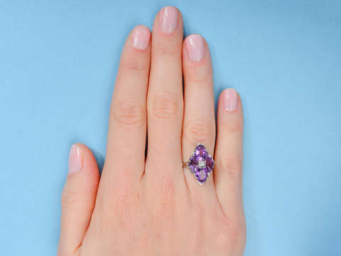 Art Deco Serenade - Fancy Cut Amethyst Ring