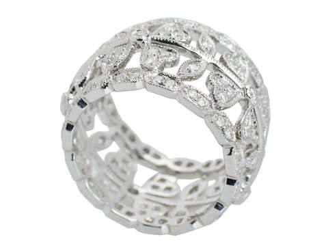 Four Leaf Clover Diamond Wedding Band
