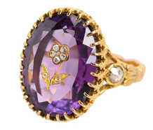 Rose of Sharon Amethyst Diamond Ring