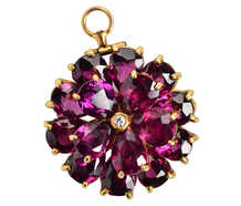 Antique Garnet Flower Pendant Brooch