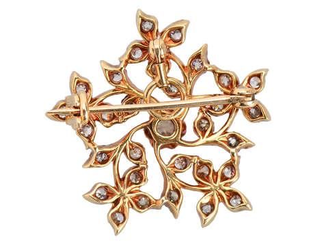 Diamond Delicacy - Floral Brooch Pendant