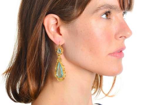 Georgian Pinchbeck Long Dangle Repoussé Earrings