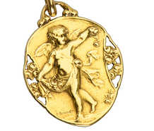 French Angel Cherub Pendant Dated 1920