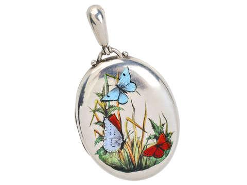 Take Flight - Victorian Enamel Butterfly Locket