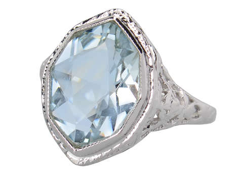 Serene Fancy Cut Aquamarine Art Deco Ring