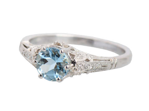 Winsome - Aquamarine Ring in White Gold