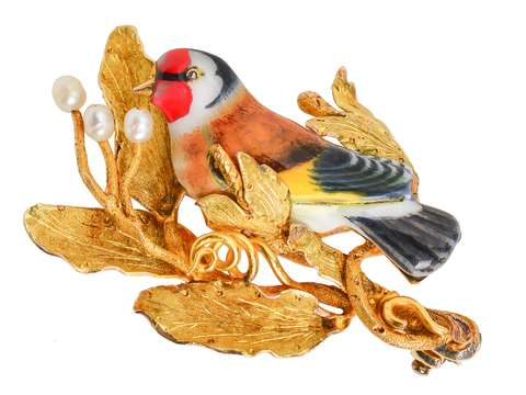 The Goldfinch - Enamel Bird Brooch in Box