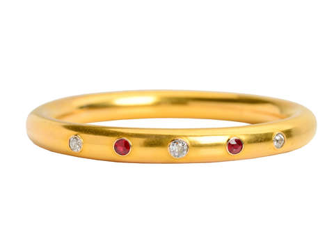 Antique Sloan & Co. Ruby Diamond Bangle Bracelet