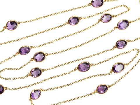 Draped in Gems - Art Deco Amethyst Gold Chain
