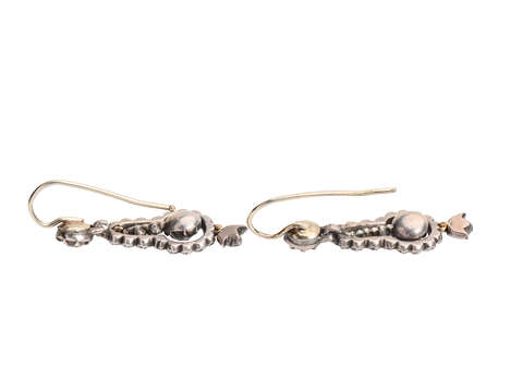 Georgian Articulated Rose Cut Diamond Earrings