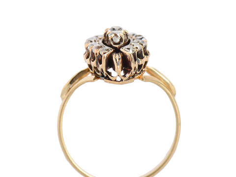 Old Mine Cut Diamond Marquise Shaped Ring