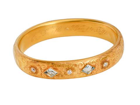 Aquamarine Diamond Antique Wide Bangle Dated 1907