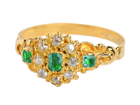 Georgian Emerald Diamond Cluster Ring