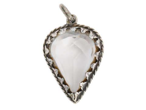 17th Century Silver Rock Crystal Heart Pendant