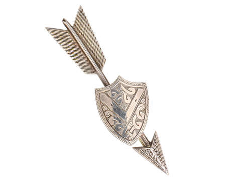 Victorian Silver Arrow & Shield Brooch of 1874
