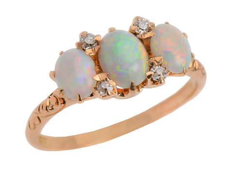 Three Opal Diamond Edwardian Ring