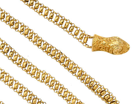 Antique Georgian Gold Chain & Animal Head Clasp
