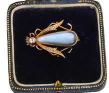 Antique Blue Moonstone Insect Brooch in Box