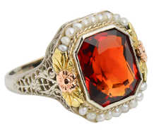 Flower Fest - Art Deco Garnet Pearl Ring
