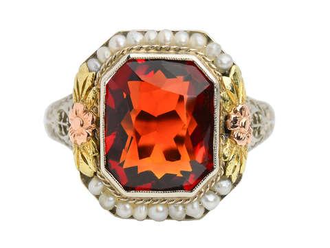 Flower Fest - Art Deco Garnet Pearl Ring