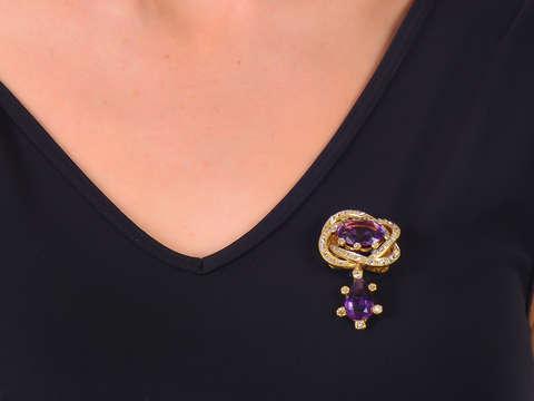 Versatility - Antique Amethyst Brooch Pendant Bracelet