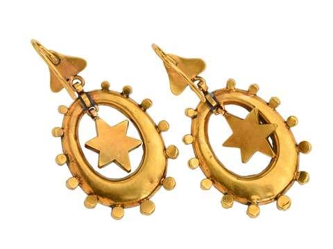 Starburst Victorian Pavé Turquoise Gold Earrings