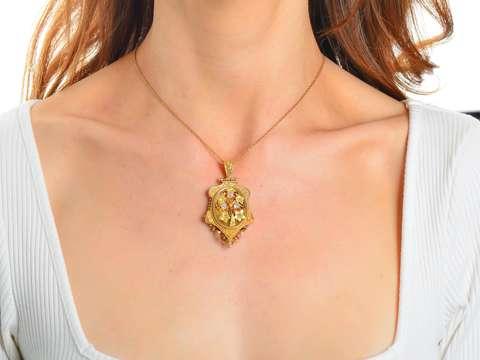Springtime - Victorian Diamond Floral Pendant