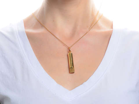 Signal Sass - 14k Gold Working Whistle Pendant