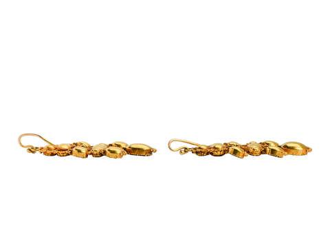 Georgian Garnet Dangle Earrings in Gold