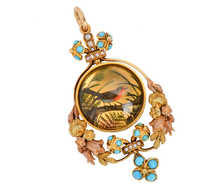 Eternal Spring - Antique Essex Crystal Bird Pendant