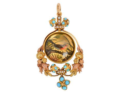 Eternal Spring - Antique Essex Crystal Bird Pendant
