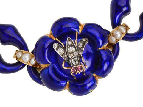 Victorian Whimsy - Blue Enamel Fly Bracelet