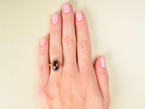 Antique Garnet Oval Cluster Ring